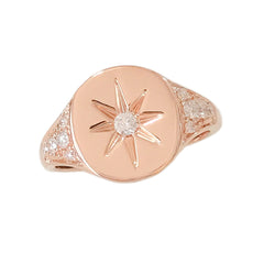 14K Gold Star Set Diamond Pavé Oval Signet Ring, LIMITED EDITION ~ In Stock!
