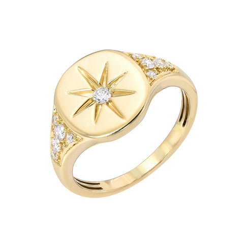 14K Gold Star Set Diamond Pavé Oval Signet Ring ~ LIMITED EDITION
