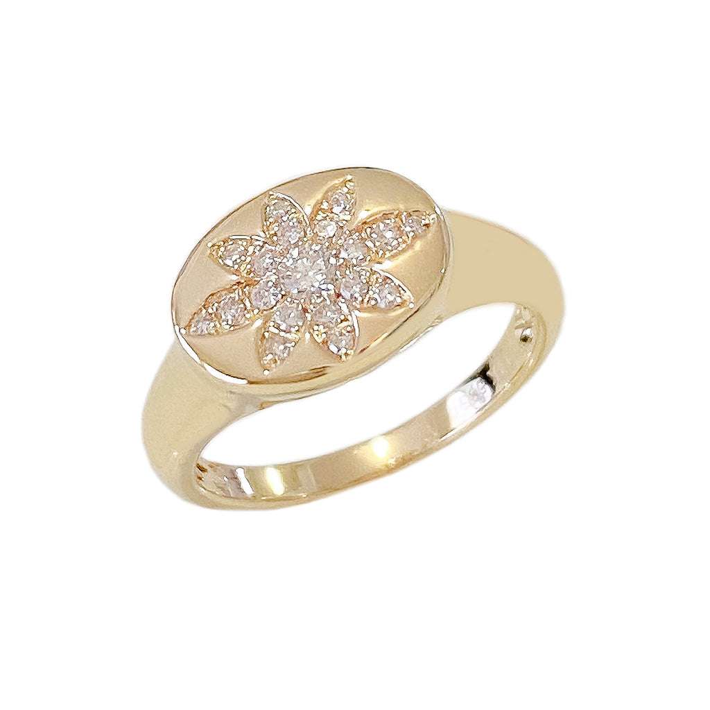 14K Gold Pavé Diamond Daisy Oval Signet Ring, LIMITED EDITION ~ In Stock!