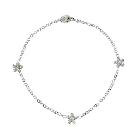 14K Gold & Pavé Diamond Triple Daisy Bracelet