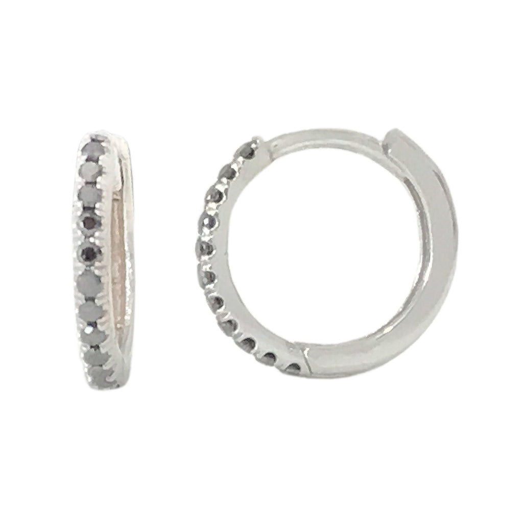14K Gold Pavé Black Diamond Large Size (12mm) Huggie Hoop Earrings ~ In Stock!