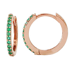 14K Gold Pavé Emerald XL Size (15mm) Huggie Hoop Earrings