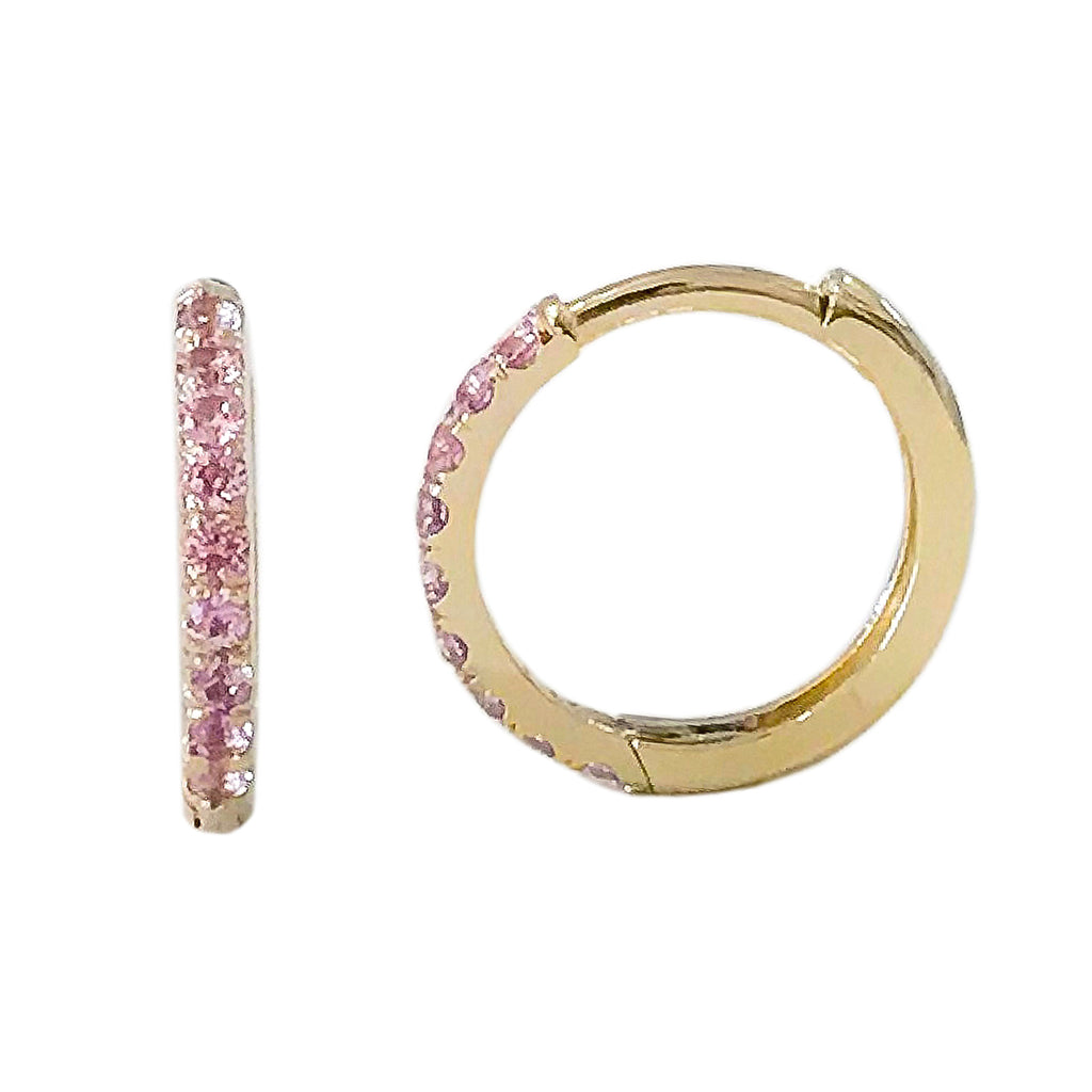 14K Gold Pavé Pink Sapphire Large Size (12mm) Huggie Hoop Earrings ~ In Stock~