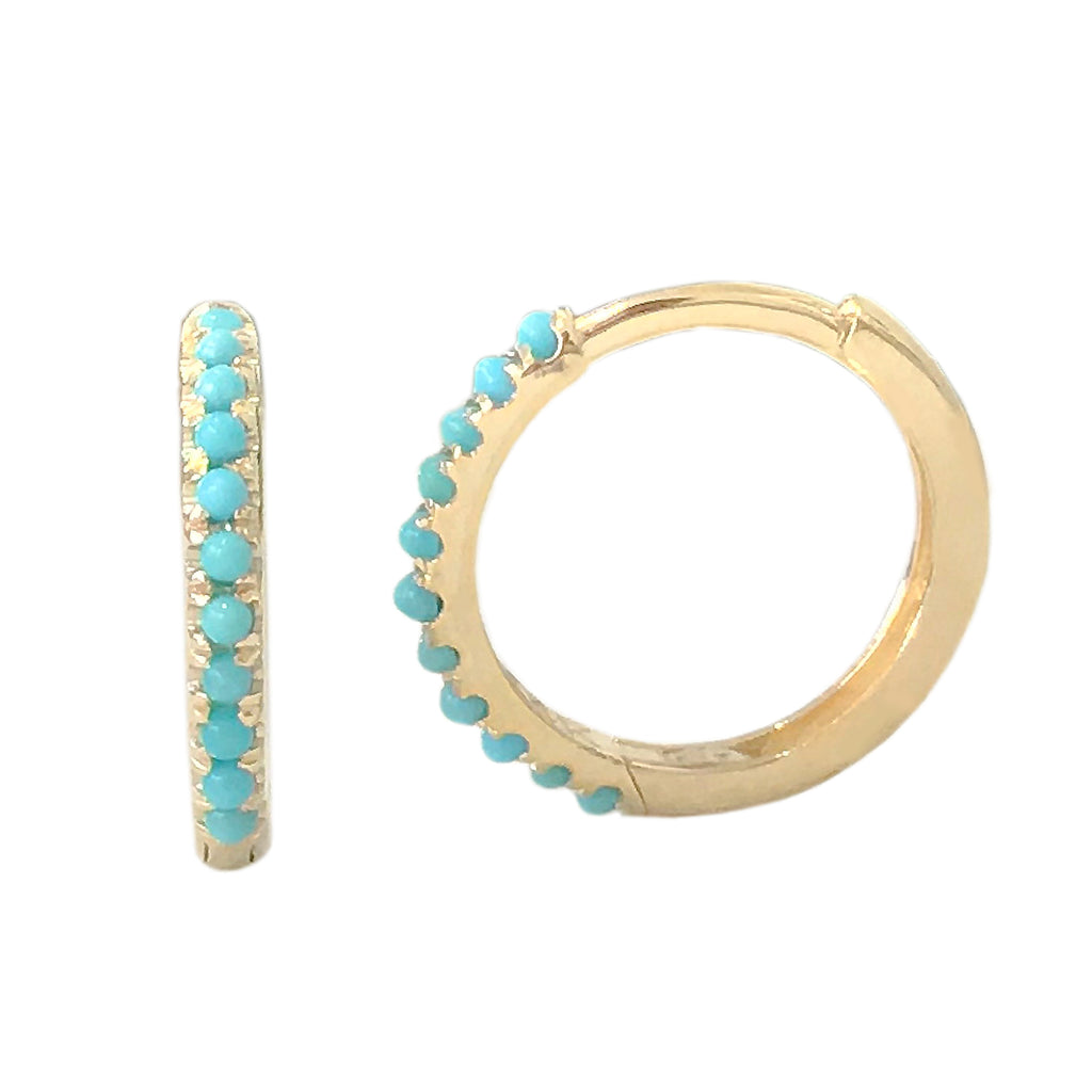 14K Gold Pavé Turquoise Large Size (12mm) Huggie Hoop Earrings