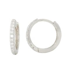 14K Gold Pavé Diamond Large Size (12mm) Huggie Hoop Earrings ~ In Stock!