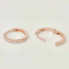 14K Gold Pavé Diamond XL Size (15mm) Huggie Hoop Earrings