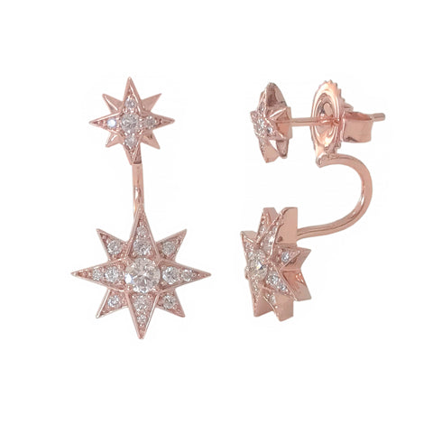 14K Gold Pavé Diamond Starburst Stud Earring & Jacket Set