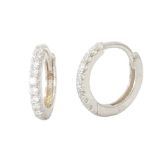 14K Gold Pavé Diamond Medium Size (10mm) Huggie Hoop Earrings ~ In Stock!