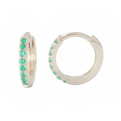 14K Gold Pavé Emerald Medium Size (10mm) Huggie Hoop Earrings