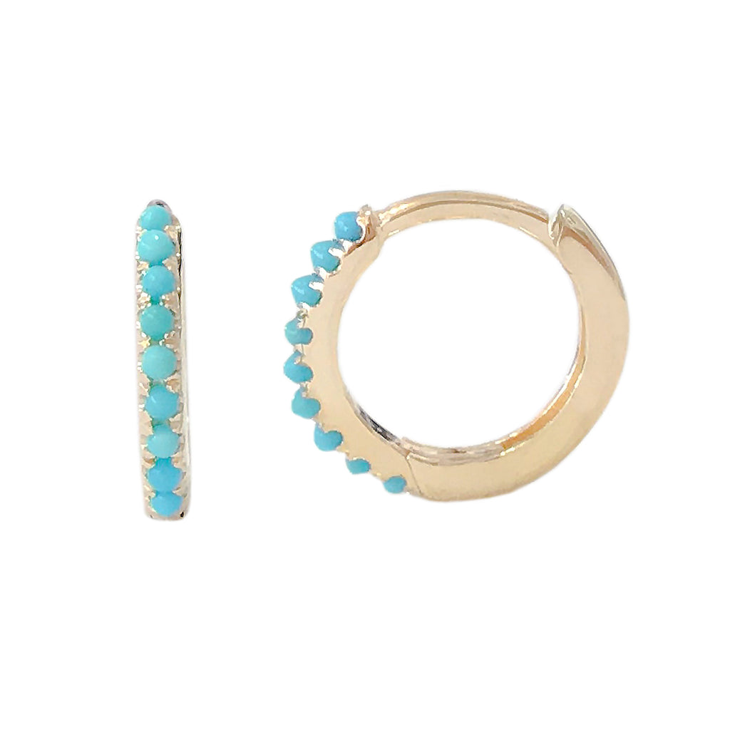 14K Gold Pavé Turquoise Medium Size (10mm) Huggie Hoop Earrings