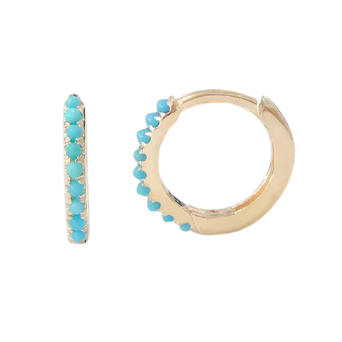 14K Gold Pavé Turquoise Medium Size (10mm) Huggie Hoop Earrings ~ In Stock!