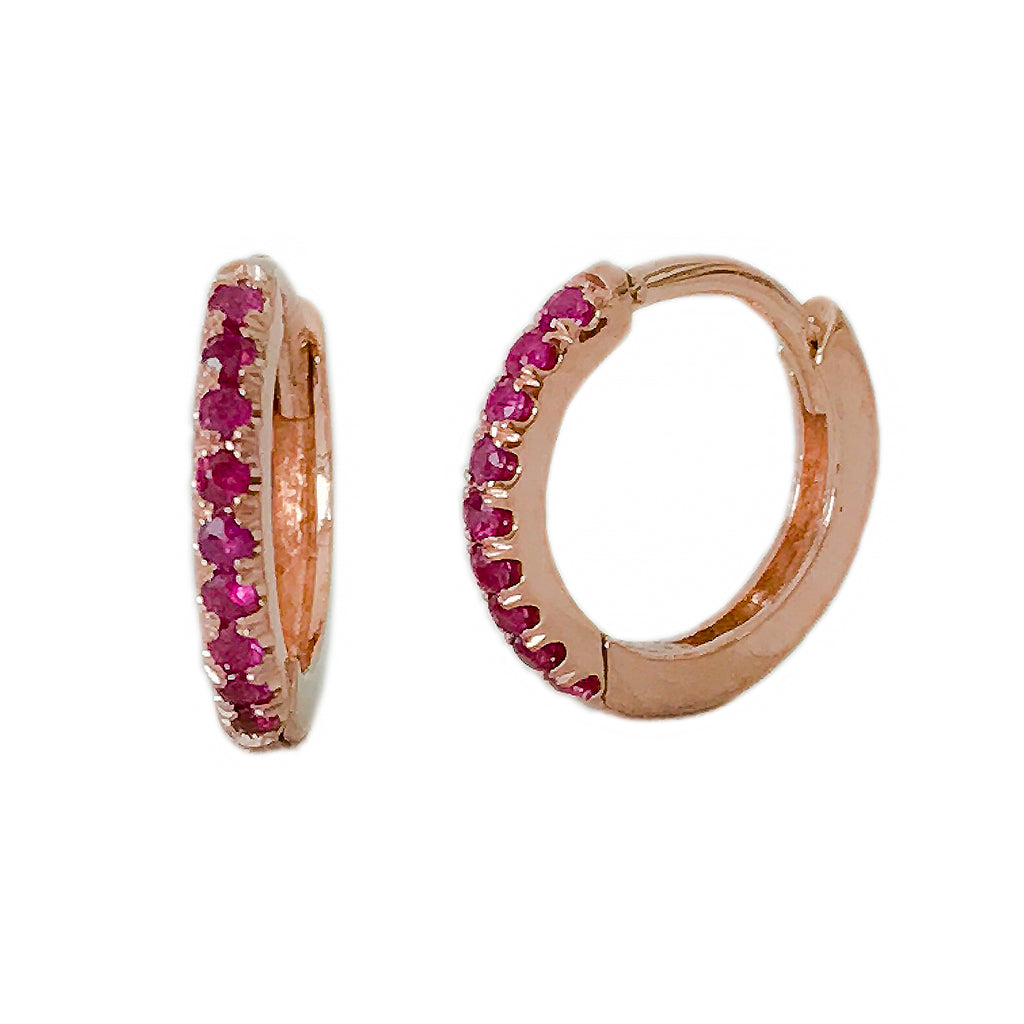 14K Gold Pavé Ruby Medium Size (10mm) Huggie Hoop Earrings