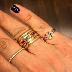 14K Gold Pavé Rainbow Gemstone Full Eternity Band ~ In Stock!