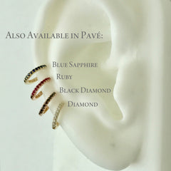 14K Gold Pavé Diamond Small Size (9mm) Huggie Hoop Earrings