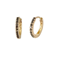 14K Gold Pavé Black Diamond Small Size (9mm) Huggie Hoop Earrings ~ In Stock!