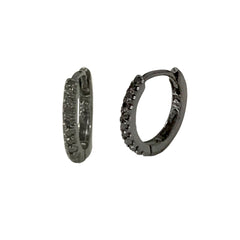 14K Gold Pavé Black Diamond Small Size (9mm) Huggie Hoop Earrings