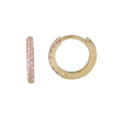 14K Gold Pavé Pink Sapphire Small Size (9mm) Huggie Hoop Earrings