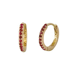 14K Gold Pavé Ruby Small Size (9mm) Huggie Hoop Earrings
