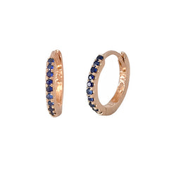 14K Gold Pavé Sapphire Small Size (9mm) Huggie Hoop Earrings