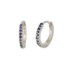 14K Gold Pavé Sapphire Small Size (9mm) Huggie Hoop Earrings ~ In Stock!