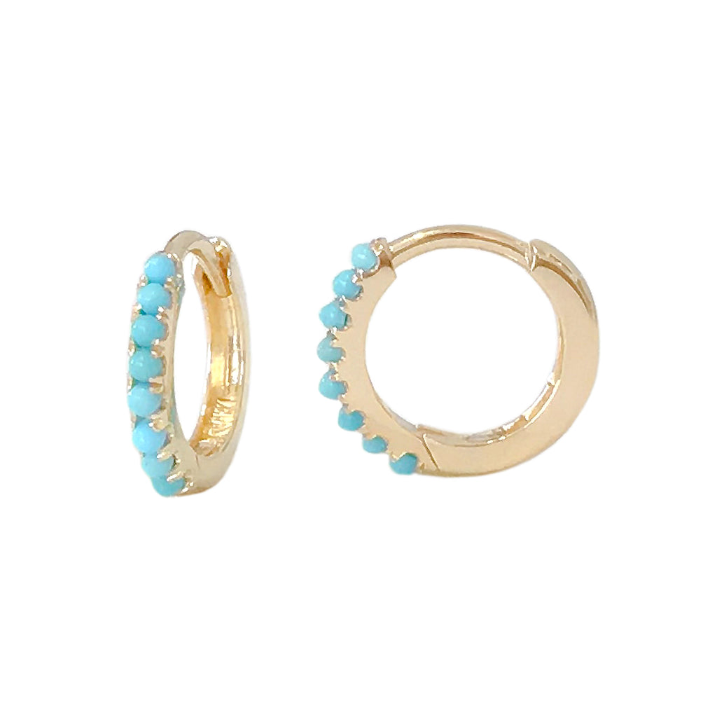 14K Gold Pavé Turquoise Small Size (9mm) Huggie Hoop Earrings