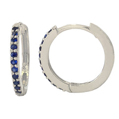 14K Gold Pavé Sapphire XL Size (15mm) Huggie Hoop Earrings