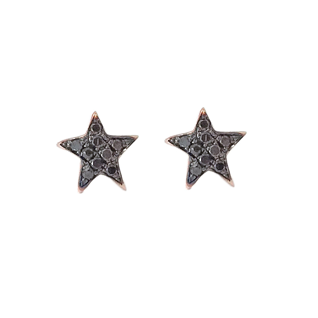 14K Gold Pavé Black Diamond XS Star Stud Earrings
