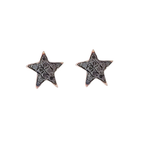 14K Gold Pavé Black Diamond Star Stud Earrings ~ XS Size