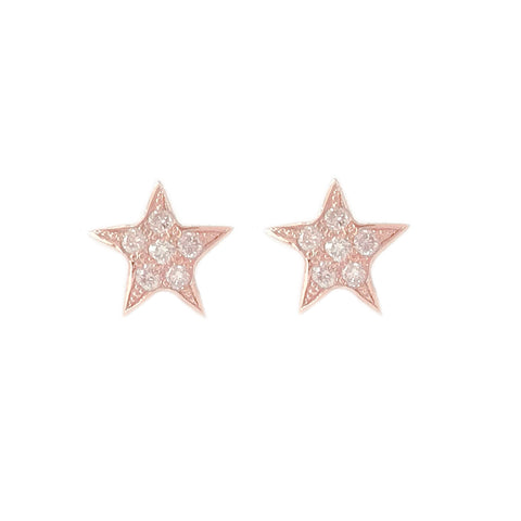 14K Gold Pavé Diamond Star Stud Earrings ~ XS Size
