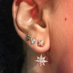 14K Gold & Pavé Diamond Starburst Stud Earrings ~ In Stock!
