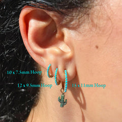 14K Gold Pavé Turquoise Large Size (12mm) Huggie Hoop Earrings ~ In Stock!