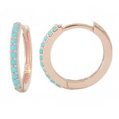 14K Gold Pavé Turquoise XL Size (15mm) Huggie Hoop Earrings ~ In Stock!