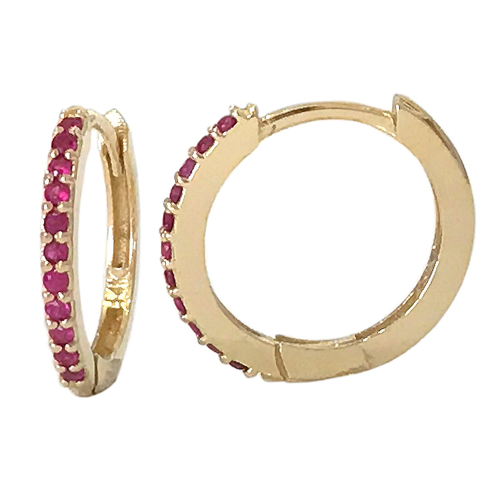 14K Gold Pavé Ruby XL Size (15mm) Huggie Hoop Earrings