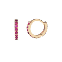 14K Gold Full Pavé Ruby XS Size (8mm) Huggie Hoop Earrings
