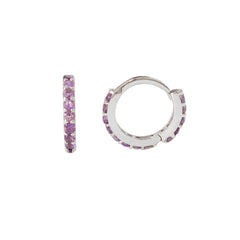 14K Gold Full Pavé Purple Sapphire XS Size (8mm) Huggie Hoop Earrings