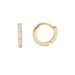 14K Gold Full Pavé Diamond XS Size (8mm) Huggie Hoop Earrings ~ In Stock!