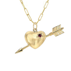 14K Gold Pierced Heart Charm Necklace