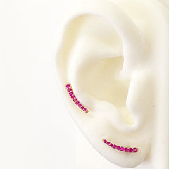 14K Gold & Pink Sapphire Climber Arch Earrings
