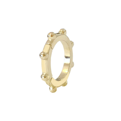 14K Gold Round Granulated Ball Charm Enhancer