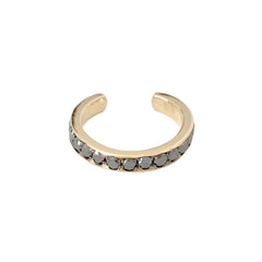 14K & Gold Full Pavé Black Diamond Round Hoop Ear Cuff
