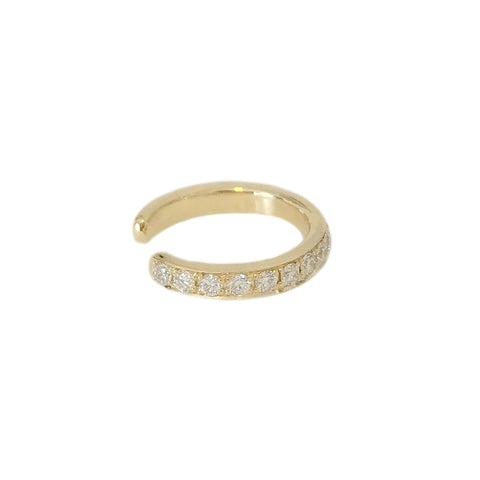 14K Gold Full Pavé Diamond Round Hoop Ear Cuff