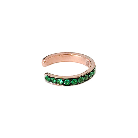 14K Gold Full Pavé Emerald Round Hoop Ear Cuff