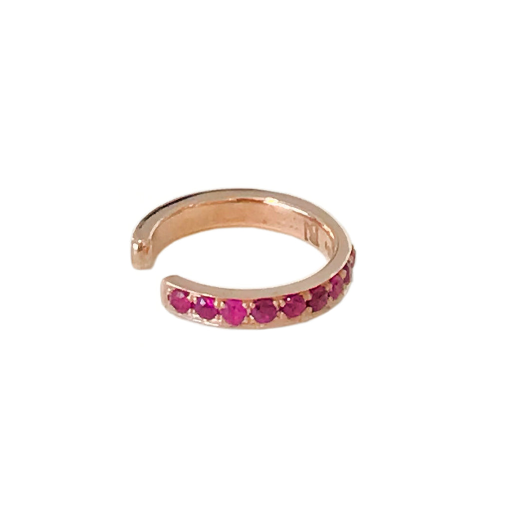 14K Gold Full Pavé Ruby Round Hoop Ear Cuff