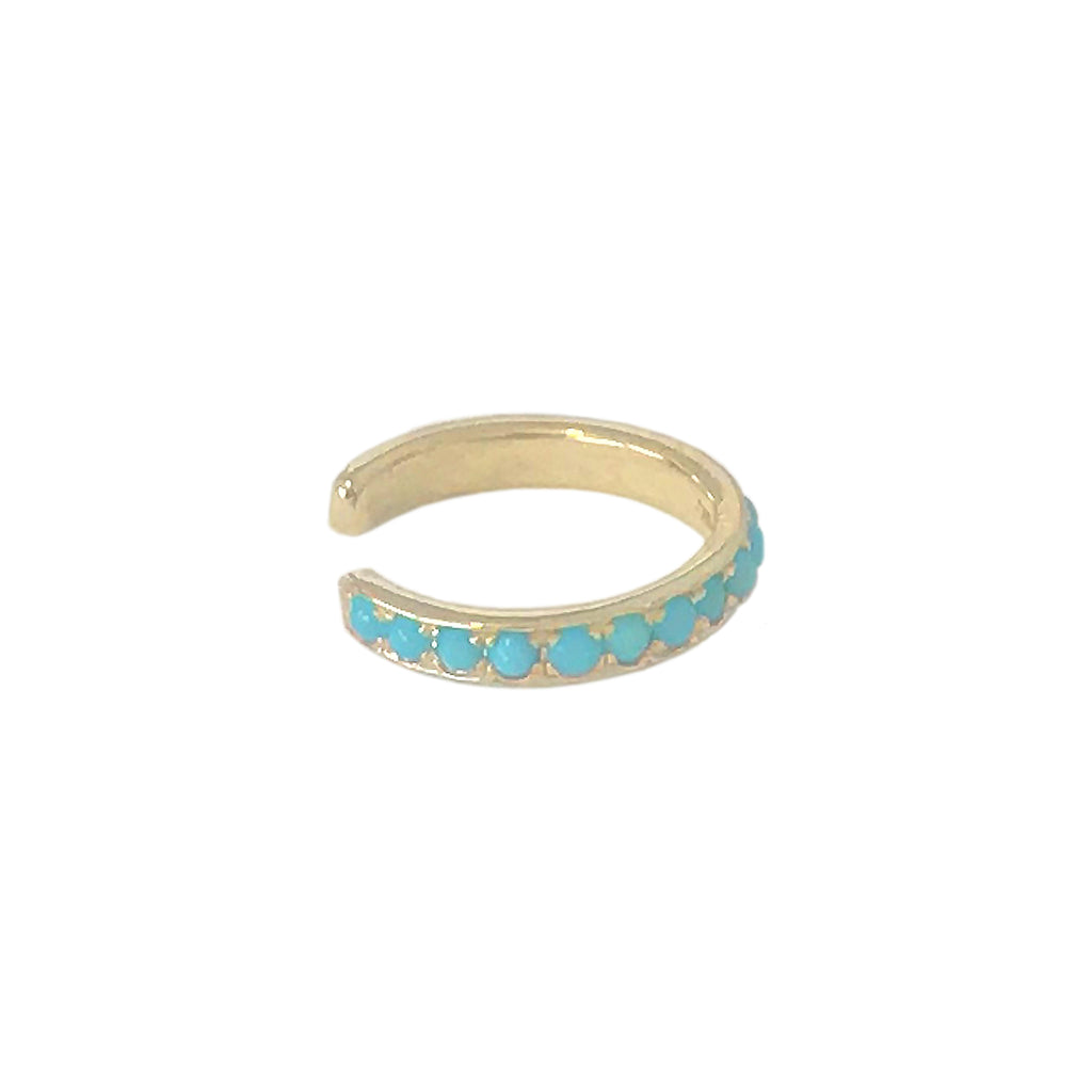 14K & Gold Full Pavé Turquoise Round Hoop Ear Cuff