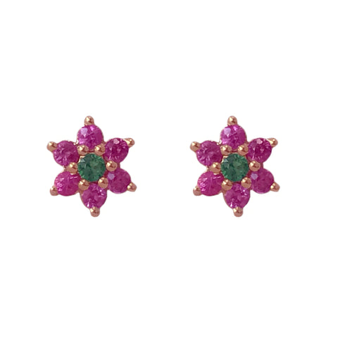14K Gold Pink Sapphire & Emerald Rosebud Flower Stud Earrings