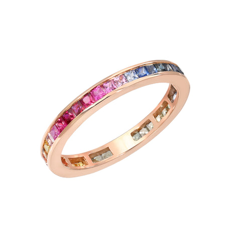 14K Gold Channel Set Princess Cut Rainbow Gemstone Full Eternity Band