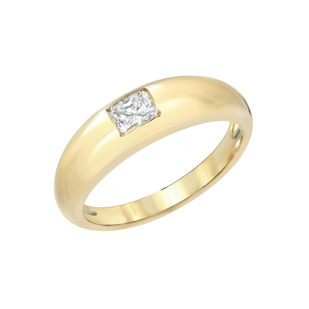 14K Gold Princess Cut Diamond Solitaire Domed Stack Ring, LIMITED EDITION ~ In Stock!
