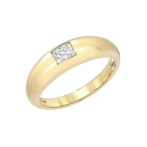 14K Gold Princess Cut Diamond Solitaire Domed Stack Ring ~ LIMITED EDITION