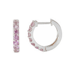 14K Gold Purple Sapphire Thick Huggie Hoop Earrings (11.5mm x 8.25mm) ~ In Stock!