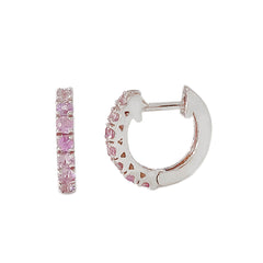 14K Gold Purple Sapphire Thick Huggie Hoop Earrings (11mm x 6mm)